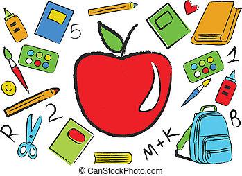 apoie escola, coloridos, acessórios
