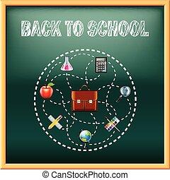 apoie escola, conceito, com, ferramentas, ligado, verde, quadro-negro