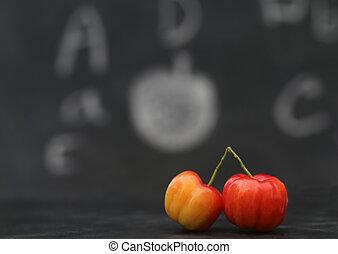 apoie escola, conceito, com, maduro, cereja