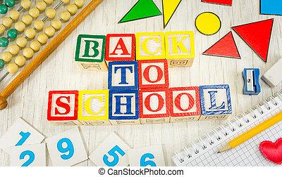apoie escola, escrito, com, madeira, cubículo, letras