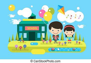 apoie escola, experiência., cute, caricatura, menino menina