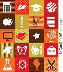 apoie escola, -, fundo, com, educação, ícones