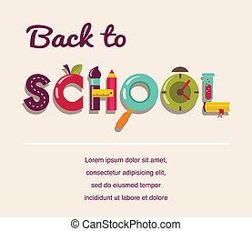 apoie escola, -, texto, com, icons., vetorial, conceito, fundo