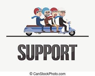 apoio, amigos, ilustração