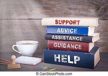 apoio, concept., pilha livros, ligado, escrivaninha madeira