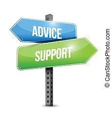 apoio, conselho, desenho, ilustrações, sinal, estrada