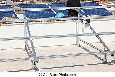 apoio, estrutura, painel solar