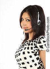 apoio freguês, menina, com, headset