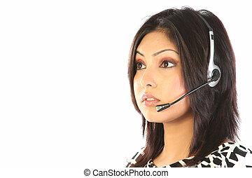 apoio freguês, mulher, com, headset