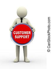 apoio freguês, nós, segurando, homem negócios, botão, 3d