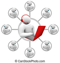 apoio freguês, -, netowrk, de, operador, e, callers