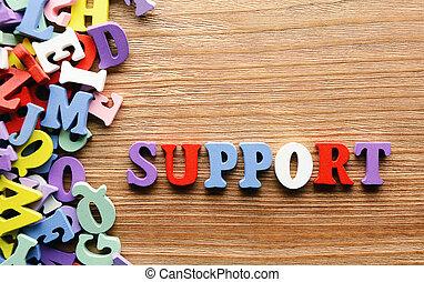 apoio, letras, madeira