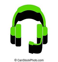 apoio, sinal, illustration., vector., verde, 3d, ícone, com, pretas, lado