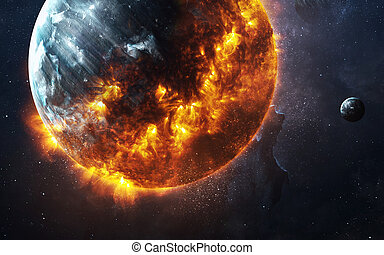 apokaliptyczny, elementy, płonący, dostarczony, to, abstrakcyjny, -, planeta, obalając, tło, wizerunek, nasa