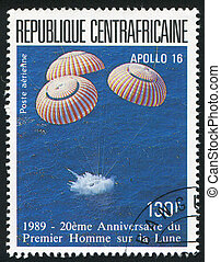 Apollo 16 - CENTRAL AFRICAN REPUBLIC 1989: stamp printed by...