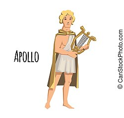 Apollo, ancient Greek god of archery, music, poetry and the sun with lyre. Mythology. Flat vector illustration. Isolated on white background.