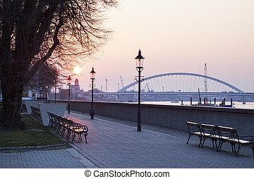 Apollo Bridge on Danube River at sunrise
