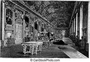 apollo, galerie, à, musée louvre, dans, paris france, vendange, gravure