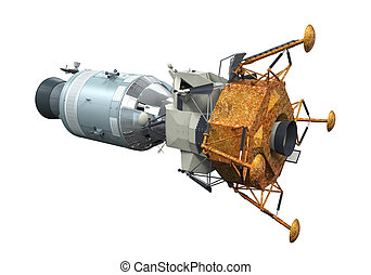 Apollo Module Docking isolated on white background. 3D...