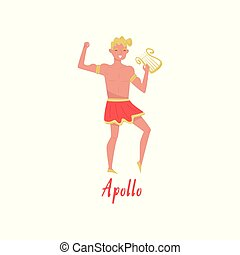 Apollo Olympian Greek God, ancient Greece myths cartoon character vector Illustration on a white background