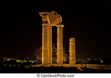 Apollo Temple at the Acropolis of Rhodes at night, Greece