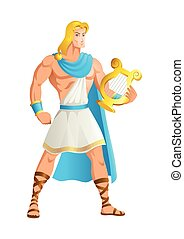 Apollo the God of music - Greek god and goddess vector ...
