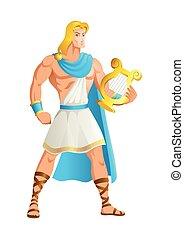 Apollo the God of music - Greek god and goddess vector ...