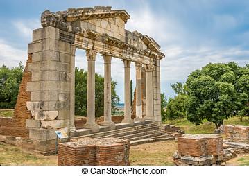 apollonia., fördärvar, tempel