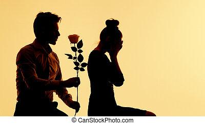 apologize, schwierig, seine, mann, ehefrau