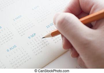 apontar, a, data, de, calendário