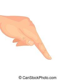 apontar, branca, baixo, dedo, mão, fundo
