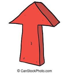 apontar cima, seta, freehand, desenhado, caricatura