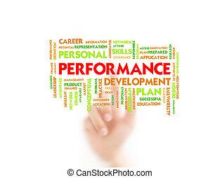 apontar, conceito negócio, dedo, desempenho, homem