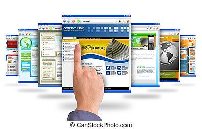 apontar dedo, em, internet, site web