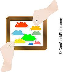 apontar dedo, modernos, tela toque, tabuleta, computador, nuvem