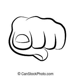 apontar dedo, visualizador, mão, frente