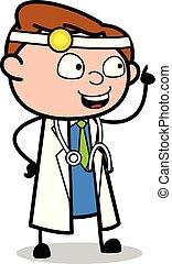 apontar, doutor, -, ilustração, falando, vetorial, profissional, caricatura