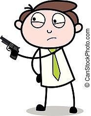 apontar, escritório, -, arma, ilustração, vetorial, empregado, homem negócios, caricatura