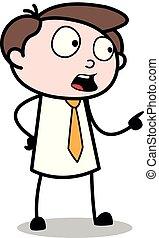 apontar, escritório, -, falando, enquanto, vetorial, illustration?, empregado, homem negócios, caricatura