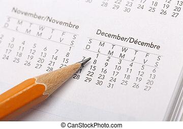 apontar, estação, mês, quentes, data, calendário
