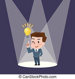 apontar, idéias, ilustração, enquanto, vetorial, dedo, homem negócios, tendo