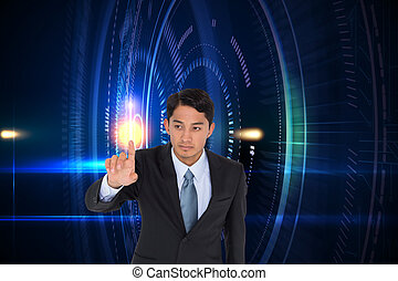 apontar, imagem composta, asiático, popa, homem negócios