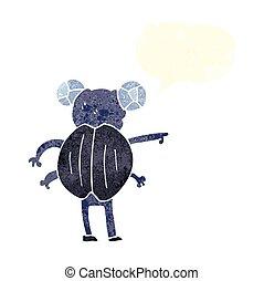 apontar, inseto, fala, retro, bolha, caricatura