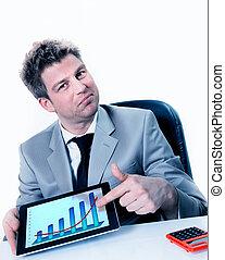 apontar, negócio, positivo, mapa, almofada, homem negócios