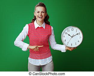 apontar, relógio, isolado, redondo, verde, estudante, branca, sorrindo