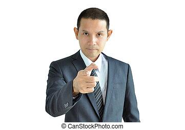 apontar, rosto, dedo, homem negócios, sério, tu, asiático