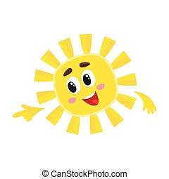 apontar, sol, ilustração, dedo, vetorial, algo, sorrindo, seu