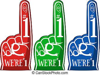 apontar, três, alegrando, cores, dedo, pacote