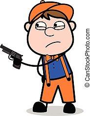 apontar, trabalhador, -, arma, ilustração, carpinteiro, vetorial, retro, caricatura