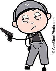apontar, trabalhador, -, arma, ilustração, vetorial, retro, repairman, caricatura
